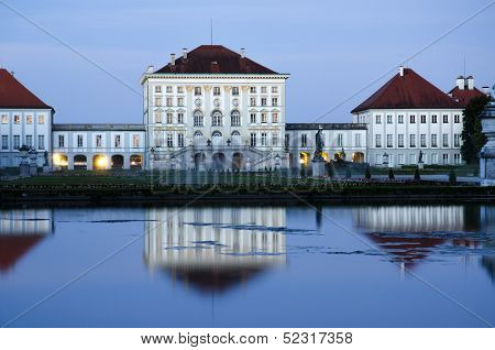 Nyphenberg Palace In Munich At Dusk