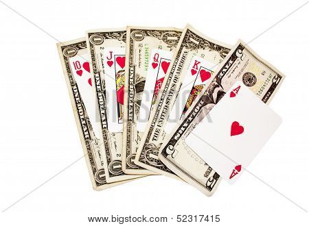 Royal Flush Of Hearts With Bank Notes