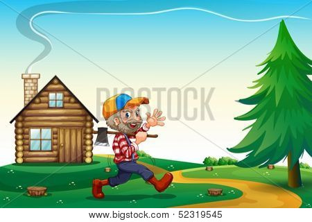 Illustration of a happy lumberjack carrying an axe while walking near the wooden house