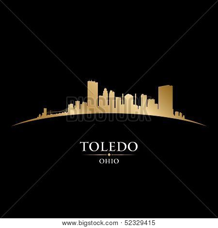 Toledo Ohio City Silhouette Black Background