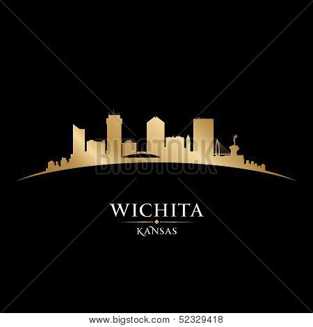 Wichita Kansas City Silhouette Black Background