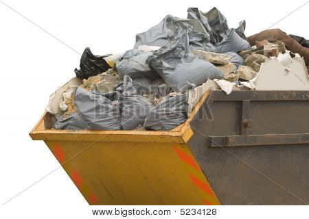 Skip With Refuse/trash Sacks Isolated - Sideview