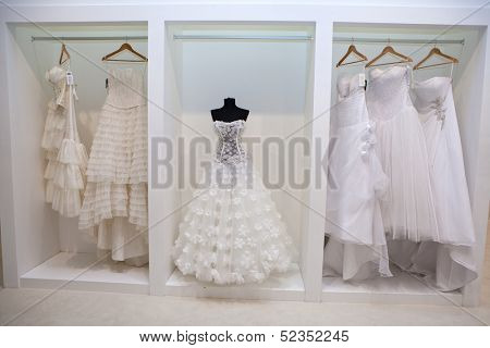 ZAGREB, CROATIA - OCTOBER 12: Wedding dresses presented on a fashion exhibition 'Wedding expo', on OCTOBER 12, 2013 in Zagreb, Croatia.