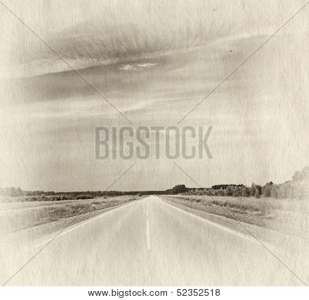 road in a fields at sunet, retro illustration