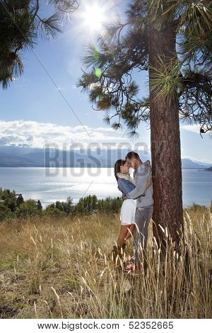 Vertical outdoor photo of young adult couple embracing in a grassy field above a lake.