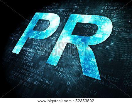 Advertising concept: pixelated words PR on digital background, 3d render poster