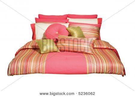 Decor, Stripes, Pillows, Peach, Bed