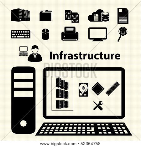 Cloud computing and Data management icons set. Vector