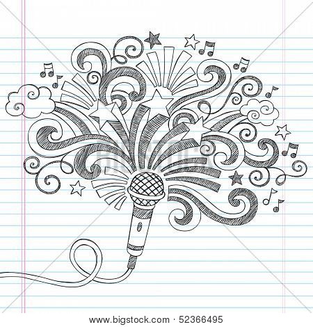 Microphone Music Back to School Sketchy Notebook Doodles Illustration with Palm Shooting Stars and Music Notes- Vector Illustration on Lined Sketchbook Paper