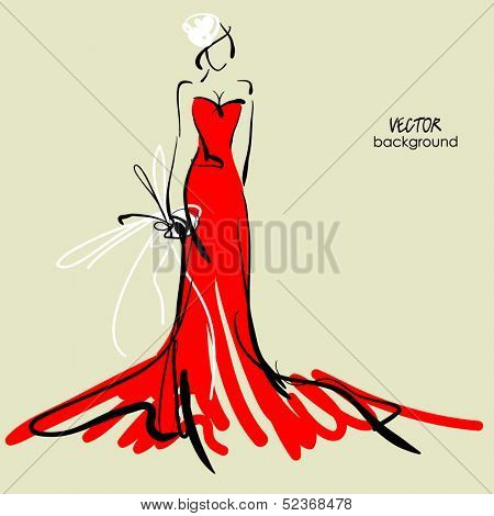 art sketch #5 of beautiful young  bride in red dress and with the bride's bouquet. Vector background with space for text.