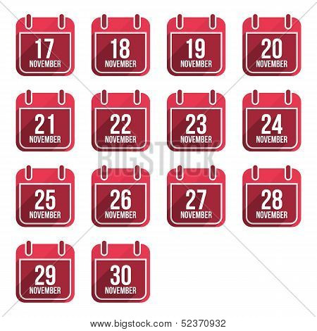 November vector flat calendar icons with long shadow. Calendar Days Of Year
