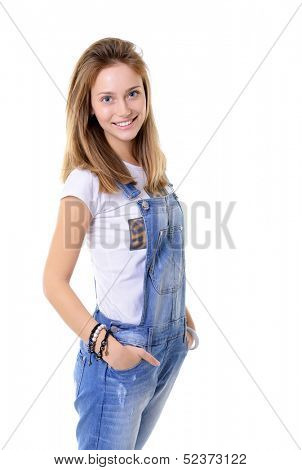 Beautiful cheerful teen girl in blue denim catsuit looking at camera and happy smiling. Isolated on white background poster