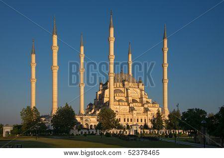 Sabanci Central Mosque At Sunset