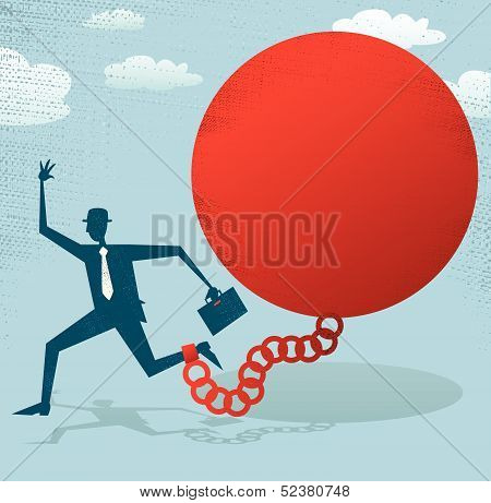 Abstract Businessman locked in a Ball and Chain.