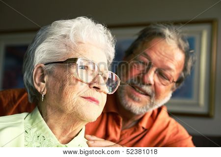 Senior mother and mature son