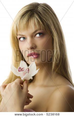 Blond Girl Making Face