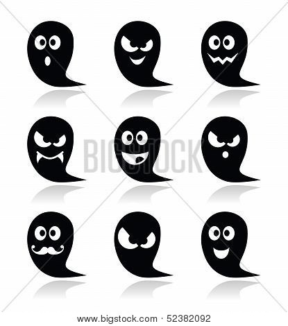 Halloween ghost vector icons set - scary, friendly, happy