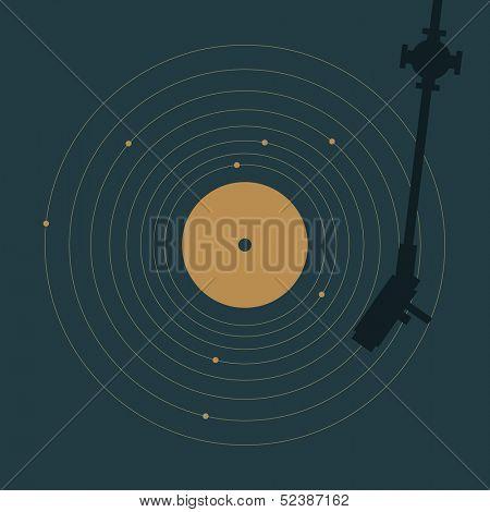 Vinyl record in shape of solar system. Creative minimal concept.