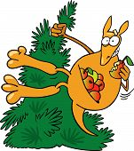 illustration of funny Kangaroo on tree with apples poster