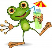 illustration of cheerful frog and a cocktail poster