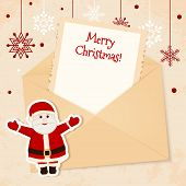 Congratulation gold retro background with Santa claus and letter. You can use frame for your text poster