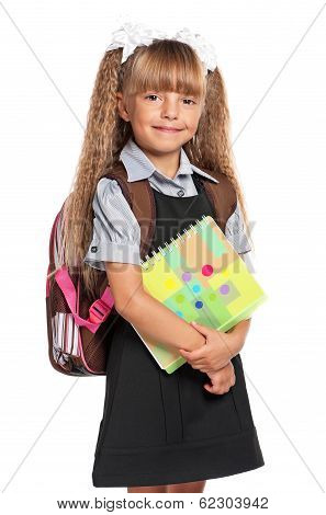 Little girl with exercise books