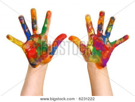 Kindergartner back to school - rainbow finger painting - painted hands - isolated on white. poster