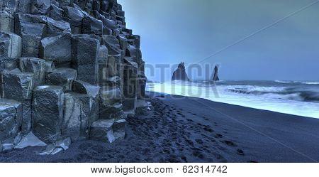 Reynisdrangar Rock Formations On Reynisfjara Beach