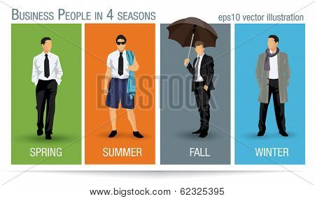 Business people illustration for all the four seasons poster