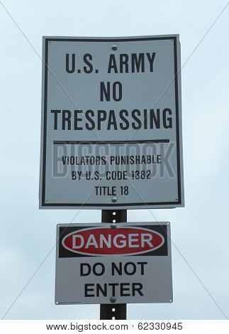 U.S. Army No Trespassing Sign near military base poster