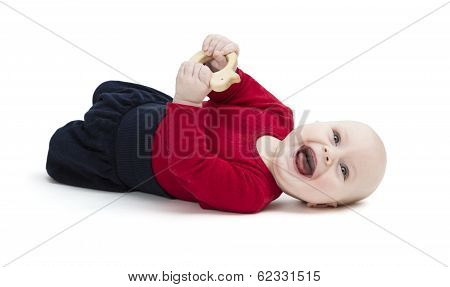 Happy Toddler Laughing On Floor