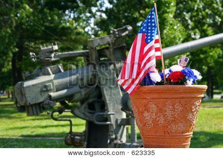 American Patriotism - Flag And Gun