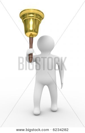 Gold Hand Bell And Man. Isolated 3D Image