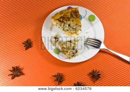 Tasty And Fresh Yellow Honey Pie With  Wallnut Decorations.