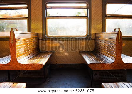 A couple of benches in the train