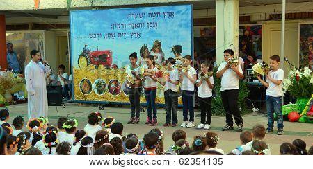 School Children Celebrating Shavuot (pentecost)