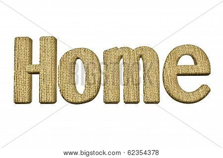 Home Word Ornament In Hessian