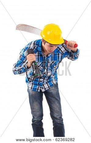 man holding a machete and a helmet
