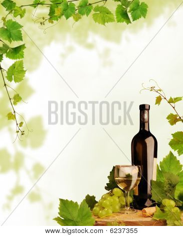 White wine and grapevine border