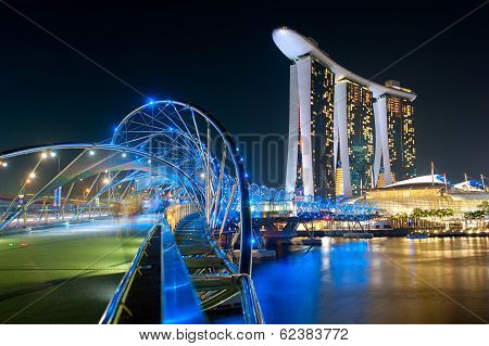 Helix Bridge And Marina Bay Sands