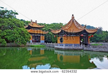 generic chinese garden architecture stylized and filtered to look like an oil painting. In foreground a pond in background historical pavilions. poster