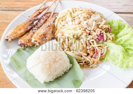 Set Of Green Mango Salad, Chicken Grill And Sticky Rice
