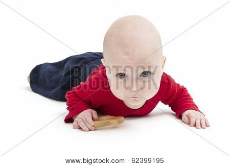 Toddler With Toy And Red Shirt Crawling