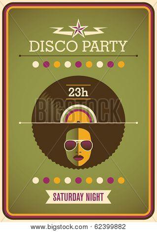 Retro disco party poster design. Vector illustration.