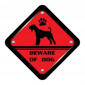 Red warning plate with dog silhouette and the text beware of dog written on the plate poster