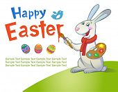 Cute Easter Bunny painting an inscription poster