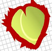 An abstract love tennis image of a heart shaped tennis ball poster