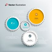 Icons and footnotes for information graphics. Colorful gears on a light blue background. Interaction gears. Bright and clean design. Vector illustration. poster