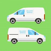 White delivery van twice on the green background poster