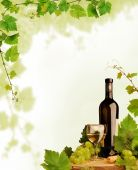Design with white wine still life and grapevine border poster